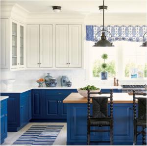 kitchen-design-in-duluth -ga-cobalt-blue-base-cabinets-ivory-top-cabinets-butcher-block-island