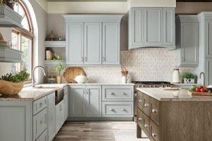 kitchen-remodel-in-Duluth-ga-kraftmaid-seafoam-blue-maple-cabinets-kitchen-island